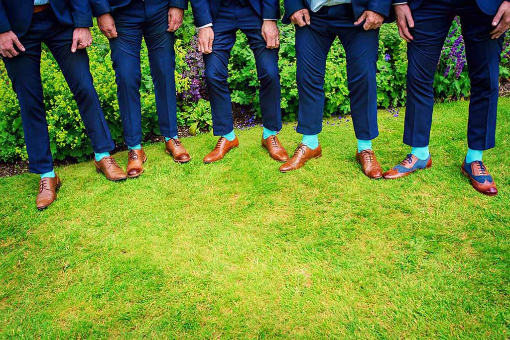 Ushers and Groomsmen Compare Shoes - Outdoor Ceremony In Hertfordshire Cambridgeshire