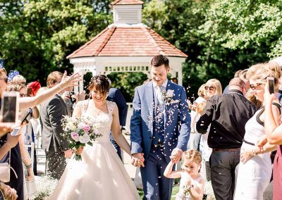 Congratulations - You are officially husband and wife - Sheene Mill Outdoor Wedding Ceremony