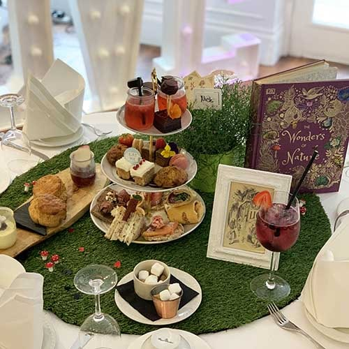 Afternoon Tea Stand at Sheene Mill - High Tea - Champagne - Sandwiches, scones, cream, jam, wraps, macarons
